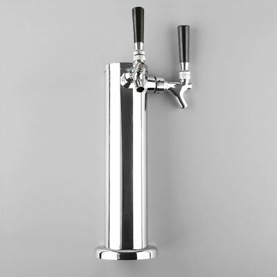 Stainless Steel Double Tap 2 Faucet Draft Beer Tower Bar Homebrew For Kegerator