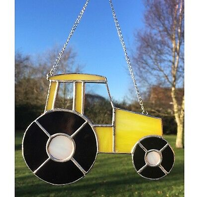Handmade Stained Glass Yellow Tractor Suncatcher Father's Day gift idea