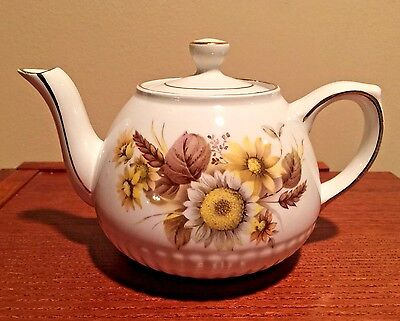 Vintage Woods & Sons Small Teapot ELLGREAVE England Genuine Ironstone w/Daisies