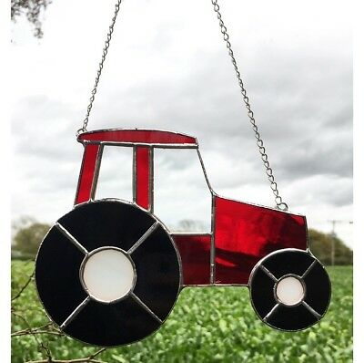 Handmade Stained Glass Red Tractor Suncatcher Father's Day gift idea