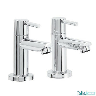 Basin Pillar Taps Solid Brass Chrome Pair Bathroom Traditional