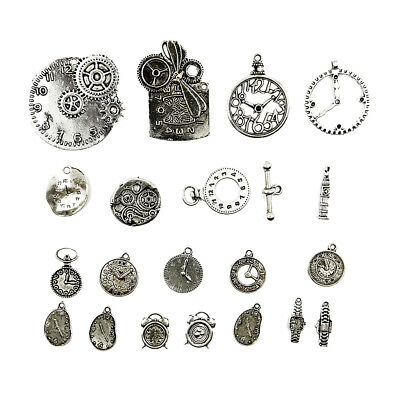 20pcs Antique Silver Steampunk Vintage Pendants Watch Clock Part