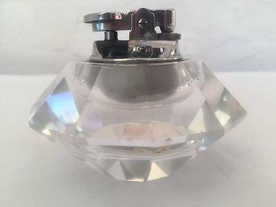 Cut Glass Clear Table Lighter measures 10cm x 6.5cm Tall