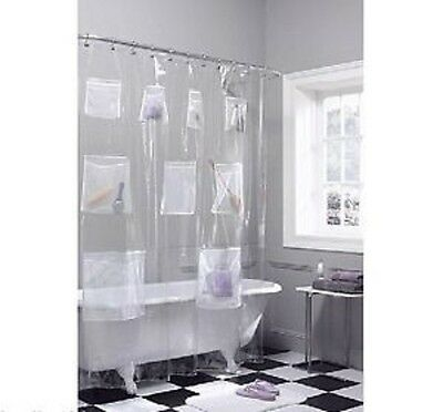 Pockets PEVA Shower Curtain/Liner with 9 Mesh Storage Pockets / super clear