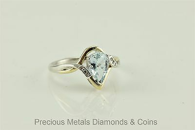 Sterling Silver 10k Yellow Gold 1ct Pear Aquamarine Diamond Accent Ring Sz: 7