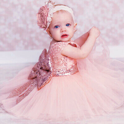 Toddler Kid Baby Girl Pageant Dress Sequin Bow Tulle Lace Party Birthday Dresses