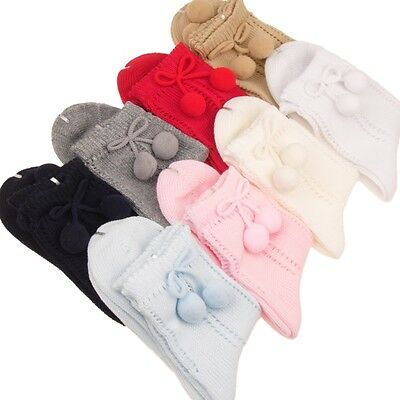 SPANISH Ankle Socks Girls Boys Baby Pelerine With Pom Poms Cotton Blend