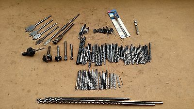 Drill Bits Arbor Spade Misc Lot 121 Pieces Machinist Wood Working Assorted