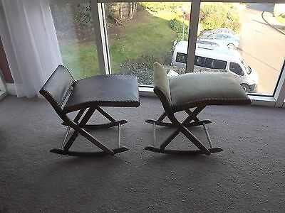 Pair Vintage Folding And Rocking Campaign Stools Small Chairs Antique Camping