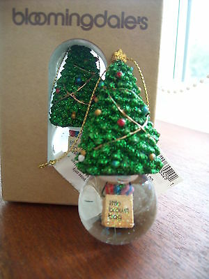 Bloomingdales Little Brown Bag Snowglobe Christmas Tree Decoration/Ornament NEW