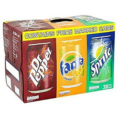 30 Cans of Variety Pack of 10 Dr Pepper, Fanta, Sprite 330ml Cans