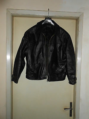 Giacca biker chiodo in pelle nera leather jacket  vintage Tg.52 Made In Italy