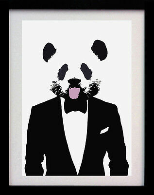 Panda Suit A3 Rare Cute Street Art Animal Poster Print - Limited Edition Of 100
