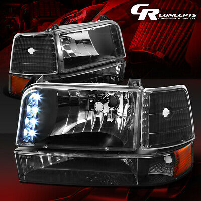 Black Led Drl Headlight+Bumper Lamps+Amber Corner Lh+Rh For 92-96 Ford F150-350