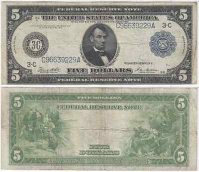 1914 $5 Federal Reserve Note, Philadelphia District, Fine, FR 855A