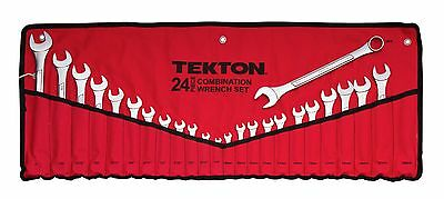 new TEKTON 1916 Combination Combo Wrench Set Inch SAE Metric 24 Pc w/ pouch