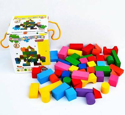 NEW Large Kid Wooden Toy Building Rainbow Block