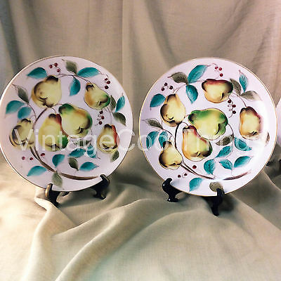 Lefton China Decorative Hand Painted Gold Rim Pear Plates: set of 2