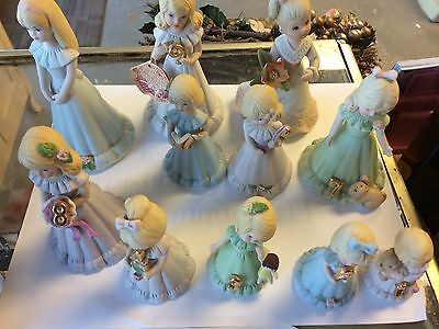 1981 Enesco Growing Up Birthday Girls Set + 1