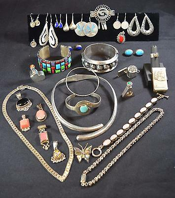 Large Collection Vintage Mexico Sterling Silver Jewelry Taxco-Other Mexican Lot