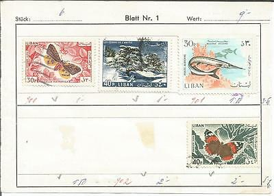 Lebanon      Liban      Butterfly     Fish     Trees      Nature      Stamps x 4
