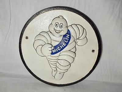 Cast Iron Michelin Man Round Wall Sign Plaque Raised Man & Letters Tire Store Ad