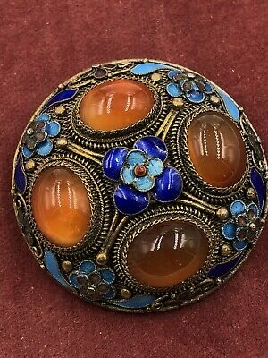 Estate Antique Brooch Art Deco Chinese Export Carnelian Enamel Silver Gold Naiad
