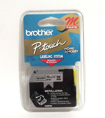 "Brother Tape Cartridge 1/2"" IN Wide, Non-laminated Silver (M931)"