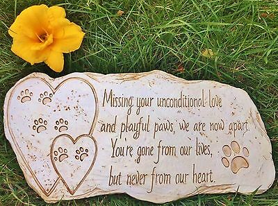 Pet Memorial Stone Marker for Dog or Cat - For Outdoor Garden Backyard or Lawn