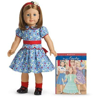 "American Girl Emily 18"" Doll & Paperback Book, And Accessories New In Box"