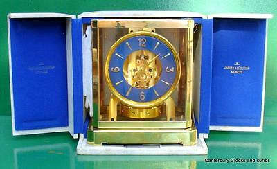 JAEGER LECOULTRE 519c ATMOS CLOCK BLUE DIAL 1950s 35121 BOXED SERVICED