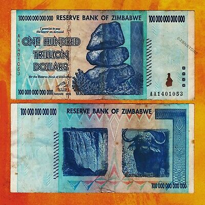 100 Trillion Zimbabwe Dollars Bank Note AA 2008 Authentic Currency - Circulated