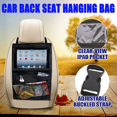 Car Back Seat Hanging Buggy Bag Storage Organizer Pocket Travel iPad Holder PVC