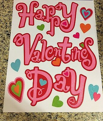 5892d2c996e90 HAPPY VALENTINES DAY Window Clings Valentines Day Heart Stickers Cupid