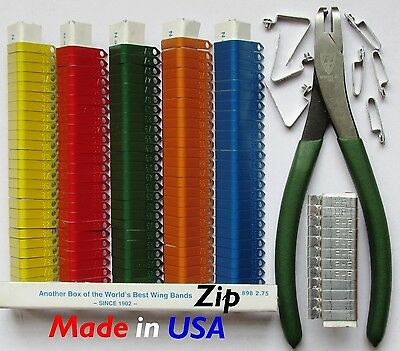 Zip Wing Bands 300pcs. NOT STAMPED Aluminum Bands Chicken Pheasant Poultry Bird