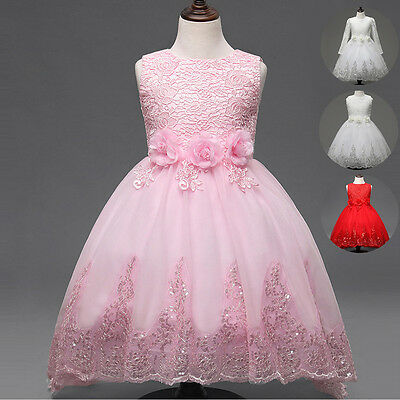 Kids Girls Lace Flower Sequins Princess Party Formal Wedding Bridesmaid Dress