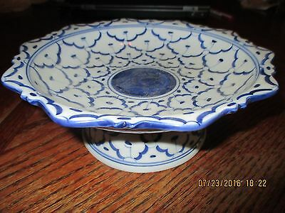 Blue And White Porcelain Bowl With Blur Design Compote Candy Dish Bowl
