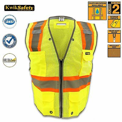 Class 2 iPocket ANSI Reflective Safety Vest D-Ring Construction High Visibility