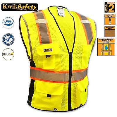 ANSI Class 2 Executive Reflective Safety Vest Orange Yellow Hi Vis Strips Safety