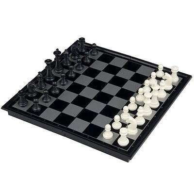 UB 9.75inch Travel Magnetic Chess, Checkers and Backgammon Set(Black&White)