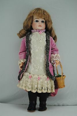 """Stunning 14"""" Antique French Jumeau Doll Pierced Ears Reproduction Nice Outfit"""