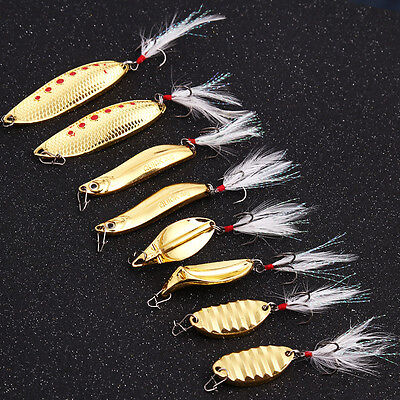 Hard Metal Spinner Spoon Fishing Lures Bass Trout Crankbait Assorted Fish Hooks