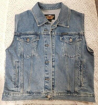 Harley Davidson Vest Denim Womans  Large Used Nice Condition Made In Canada