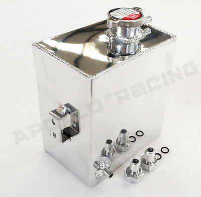 2.5l Polished Aluminum Radiator Coolant Overflow Tank Expansion Bottle Universal