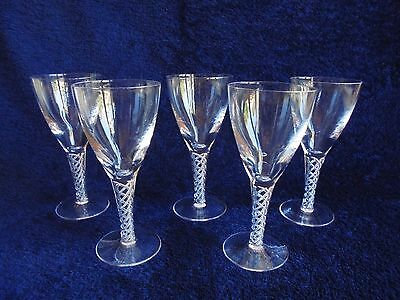 Vintage Stuart Crystal Arial Pattern Set Of Glasses Air Twist Stem