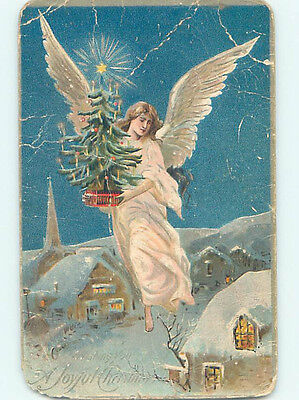 Damaged Pre-Linen BEAUTIFUL ANGEL FLIES WITH OLD-FASHIONED CHRISTMAS TREE HQ6868