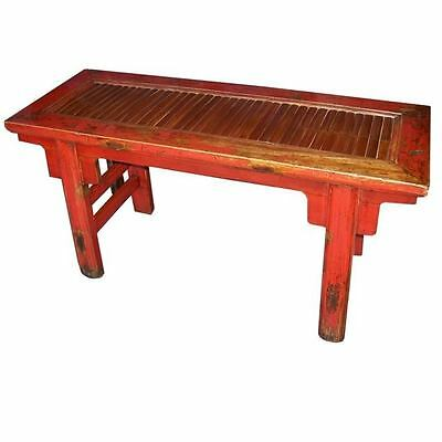Chinese Antique Furniture -  Original Red Bamboo Inlay Bench (10-103)