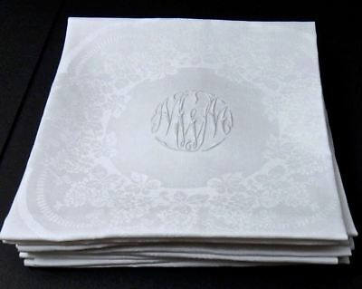 "IRISH Floral Damask LINEN NAPKINS 22"" Set 9 Mono ""MWM"" Fine HEIRLOOM - Mill MARK"