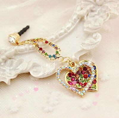 Color 3.5mm Universal Crystal  Heart Dust Plug Ear Jack for Samsung iPhone HTC