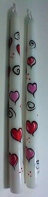 One Set Of Two Hand Painted Taper Candles With Pink & Red Hearts For Valentines